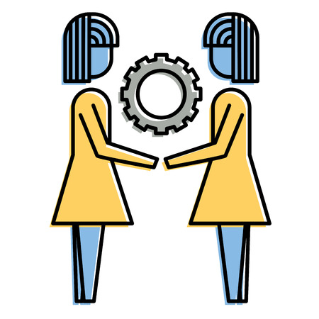 two business women holding gear teamwork concept vector illustration