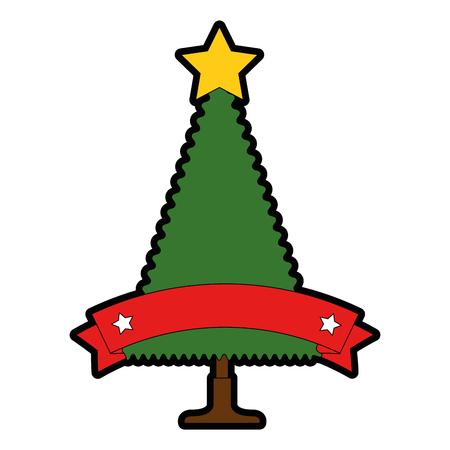christmas tree with ribbon frame vector illustration design