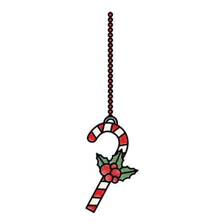 Christmas cane hanging decorative icon illustration design.