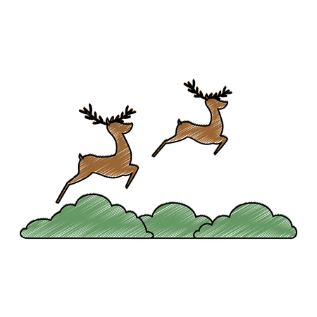 Group of reindeer jumping scene vector illustration design.