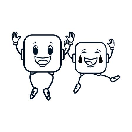 Couple face emoji square character illustration design. Çizim