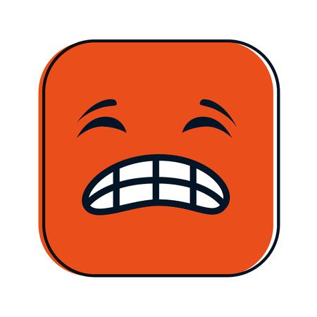 Angry face emoji square character illustration design. Illustration