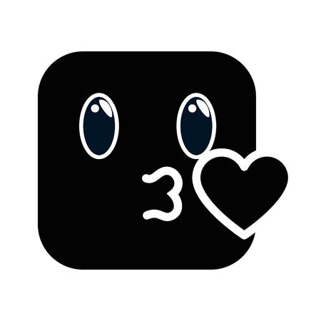 kissing face emoji character vector illustration design