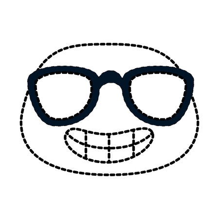 happy emoji with sunglasses character vector illustration design