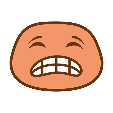 angry face emoji character vector illustration design Ilustracja