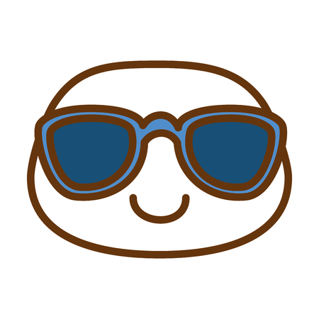 happy emoji with sunglasses  character vector illustration design
