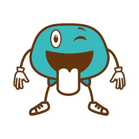 crazy face emogi character vector illustration design