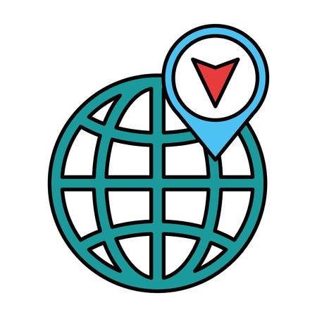 지구 행성 구 위치 핀 벡터 일러스트 디자인