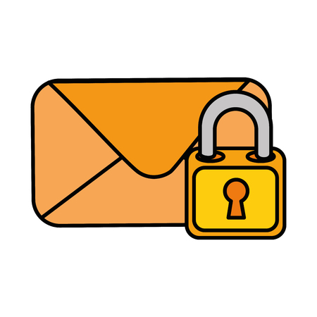 Envelope mail with padlock vector illustration design Vectores
