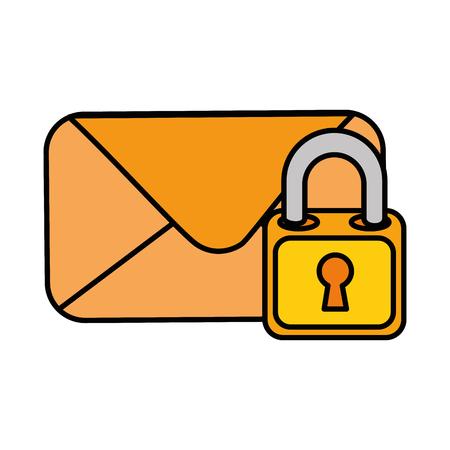Envelope mail with padlock vector illustration design Stock Illustratie