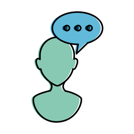 Human profile with speech bubble vector illustration design Çizim