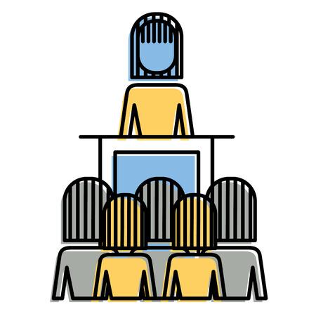 Vergadering zakelijke mensen baas podium presentatie vectorillustratie Stock Illustratie