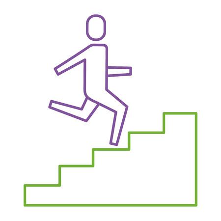 Homme d'affaires grimper les escaliers en illustration vectorielle de succès commerciaux