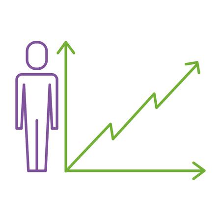 A businessman with business graph growth arrow vector illustration 向量圖像