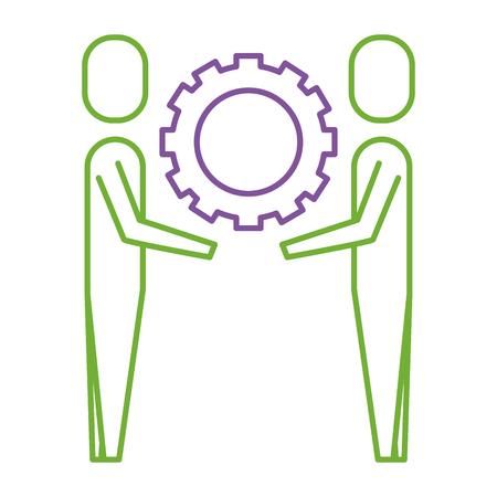 ギアチームワークコンセプトベクトルイラストを持つ2人のビジネスマン