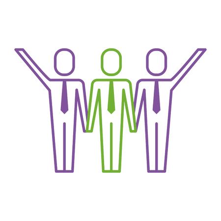 Three men holding hands teamwork successful vector illustration