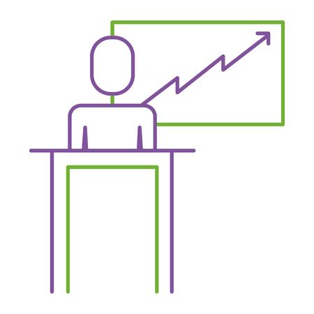 Een zakenman podium presentatie bord diagram vector illustratie