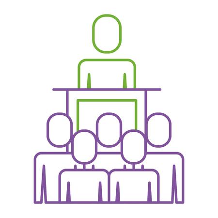 A meeting business people boss podium presentation vector illustration Illusztráció