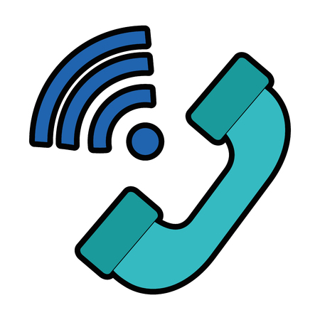 A telephone service with waves signal vector illustration design Illustration