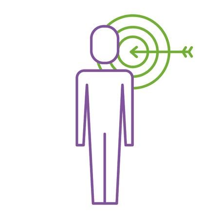 A businessman with targert arrow solution marketing vector illustration