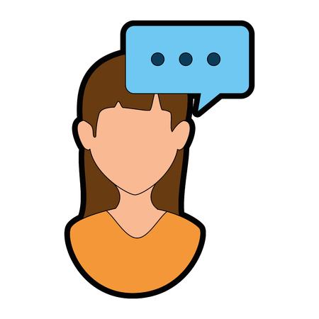 A woman profile with speech bubble vector illustration design Çizim