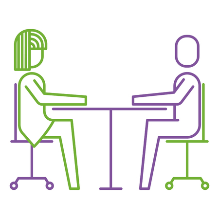 A woman and man business sitting communication team vector illustration