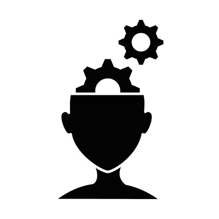 human profile with gears vector illustration design