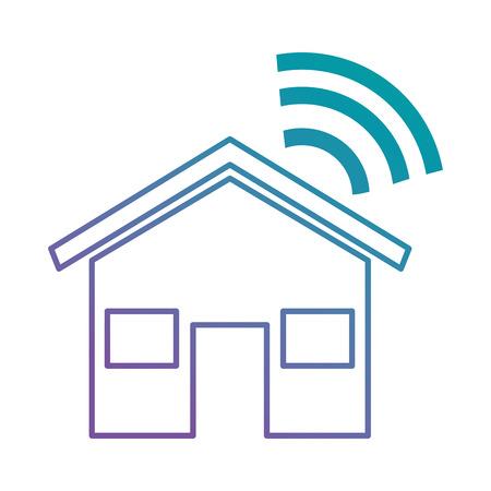 Huissilhouet met ontwerp van de wifisignaal het vectorillustratie