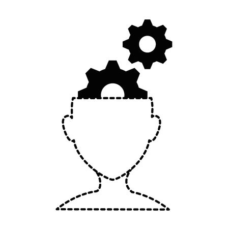 A human profile with gears vector illustration design