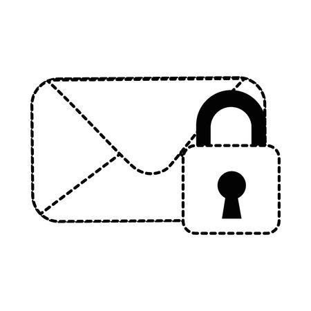 Envelope mail with padlock vector illustration design Illustration
