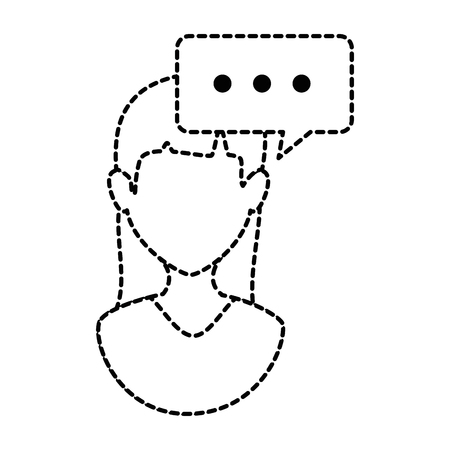 woman profile with speech bubble vector illustration design