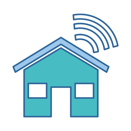 Een huissilhouet met vector de illustratieontwerp van het wifisignaal Stock Illustratie