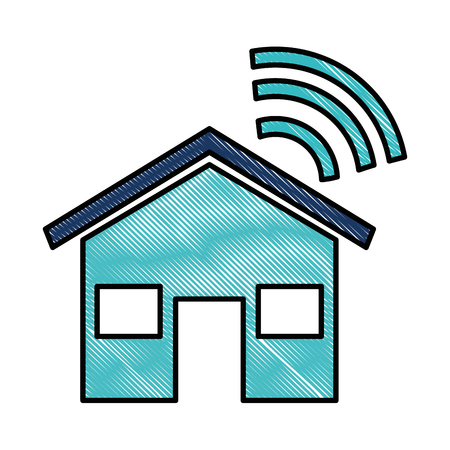 huissilhouet met vector de illustratieontwerp van het wifisignaal