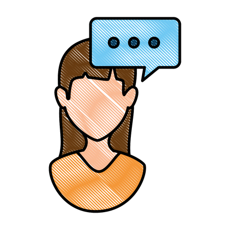 woman profile with speech bubble vector illustration design