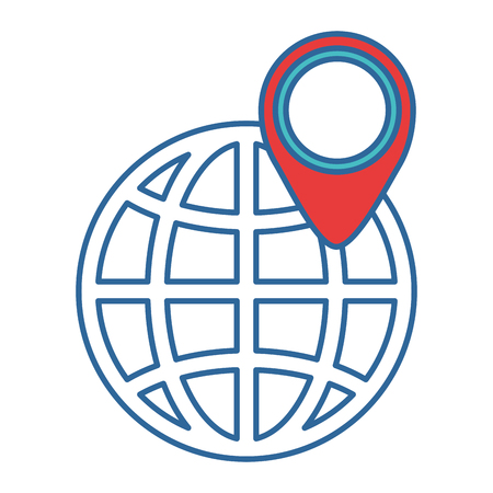 earth planet sphere with location pin vector illustration design