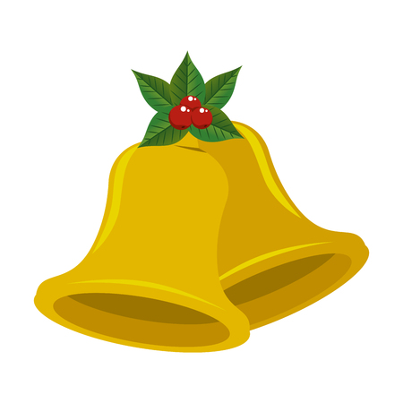 christmas bell with flower vector illustration design