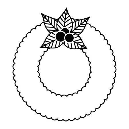 christmas crown with flowers decorative vector illustration design  イラスト・ベクター素材