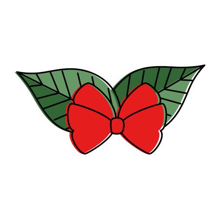 christmas leafs decorative frame vector illustration design