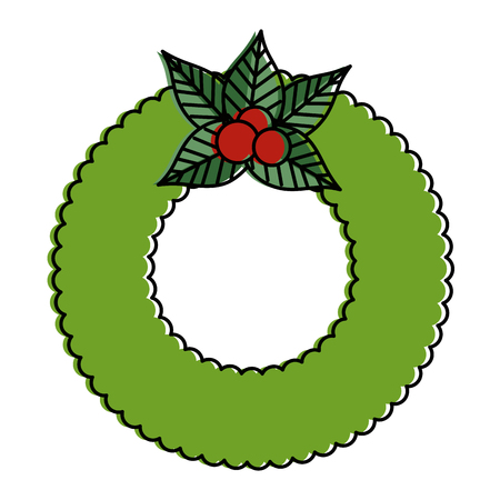 Christmas crown with decorative flowers illustration design Vector Illustration