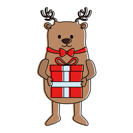 Cute christmas reindeer with gift illustration design