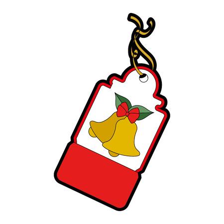 christmas tag hanging icon vector illustration design