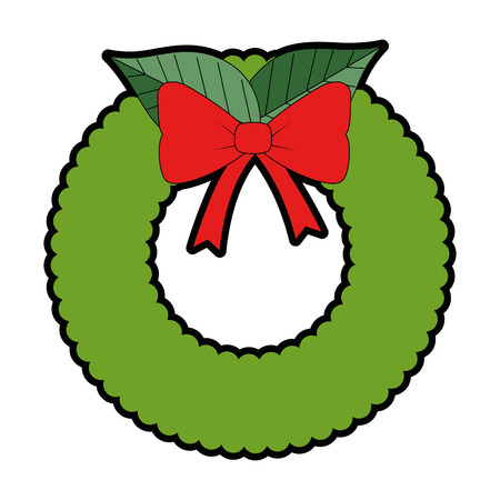 christmas crown with flowers decorative vector illustration design Illusztráció
