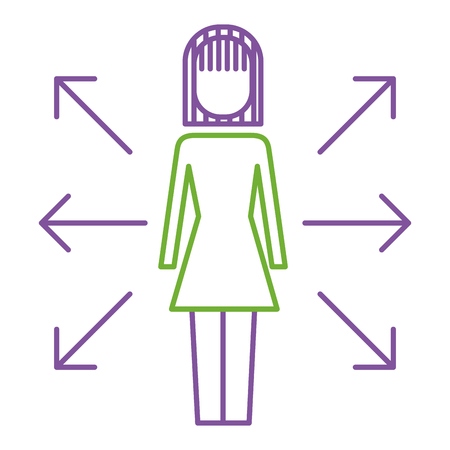 Direction des flèches de femme d'affaires options choisissez illustration vectorielle. Banque d'images - 92353456