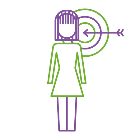 Businesswoman with target arrow solution marketing vector illustration. Illustration