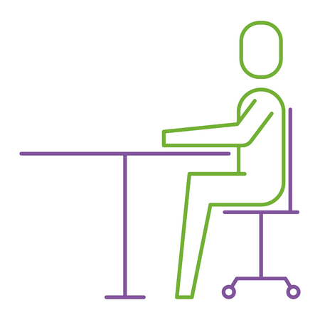 Businessman sitting in chair desk office work vector illustration.