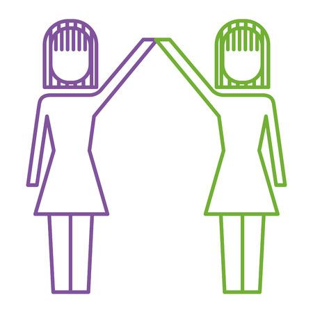 Businesswomen with raised arms triumph success vector illustration. Çizim