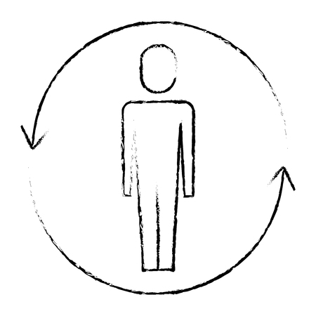 businessman with arrows around solution vector illustration sketch design Illusztráció
