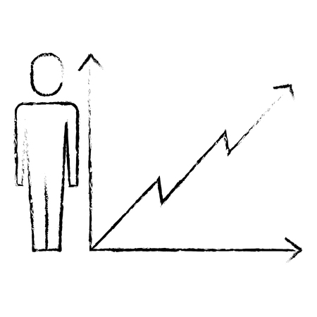 businessman with business graph growth arrow vector illustration sketch design 向量圖像