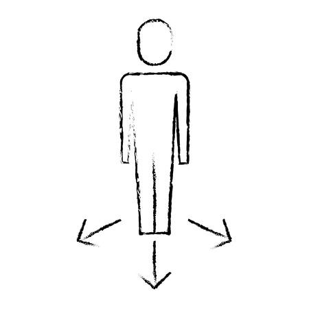 businessman with arrows direction vector illustration Banque d'images - 92474309