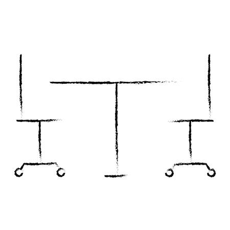 tafel en stoelen met wiel vector illustratie schetsontwerp